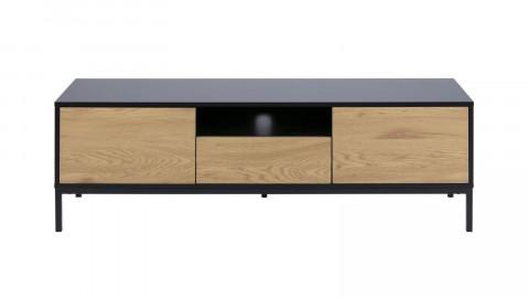 Meuble TV en bois noir et naturel - Collection Seaford