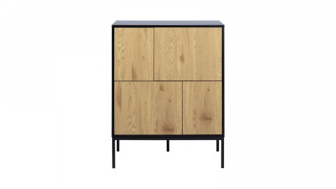 Meuble de rangement en bois noir et naturel - Collection Seaford