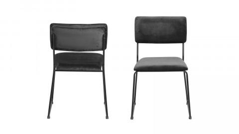 Lot de 2 chaises en tissu gris foncé piètement en métal noir - Collection Cornelia