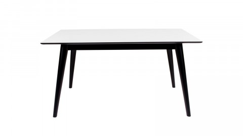 Table à manger extensible 150/230x95cm en melamine plateau blanc piètement noir - Collection Copenhagen - House Nordic