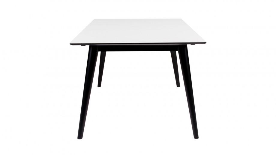 Table à manger extensible 150/230x95cm en melamine plateau blanc piètement noir - Collection Copenhagen - House Nordic