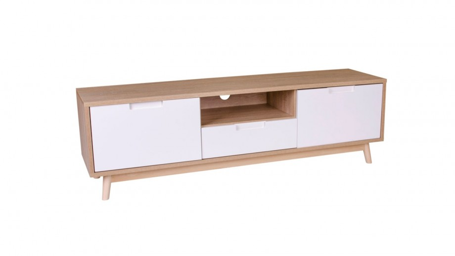Meuble TV 2 portes 2 tiroir blanc et naturel - Collection Copenhagen - House Nordic