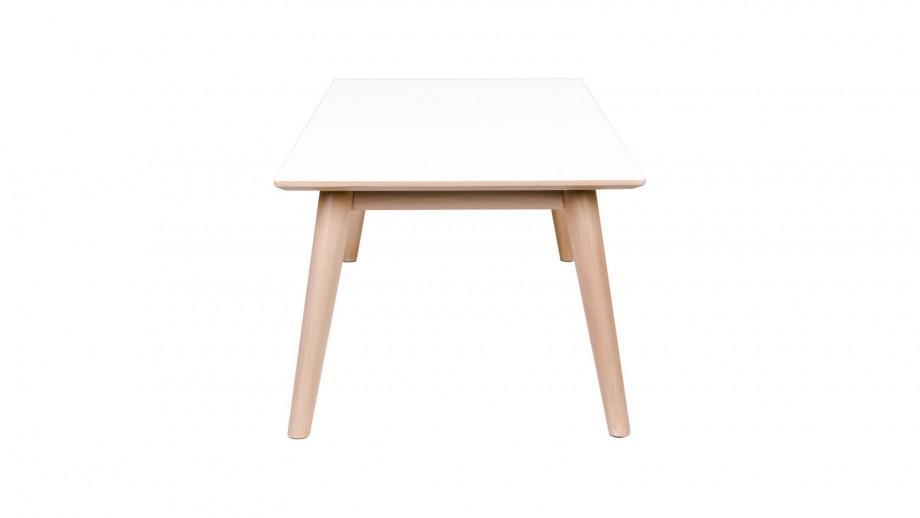 Table basse en melamine plateau blanc piètement bois - Collection Copenhagen - House Doctor