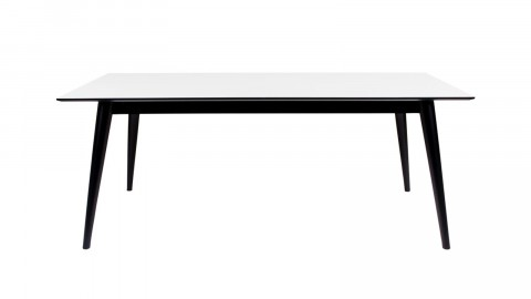 Table à manger extensible 195/285x90cm en melamine plateau blanc piètement noir - Collection Copenhagen - House Nordic
