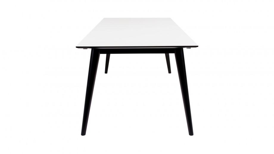 Table à manger extensible 195/285x90cm en melamine plateau blanc piètement noir - Collection Copenhagen - House Nordic