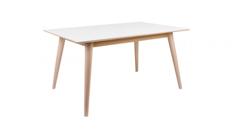Table à manger extensible 150/230x95cm en melamine plateau blanc piètement bois - Collection Copenhagen - House Nordic