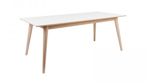 Table à manger extensible 195/285x90cm en melamine plateau blanc piètement bois - Collection Copenhagen - House Nordic