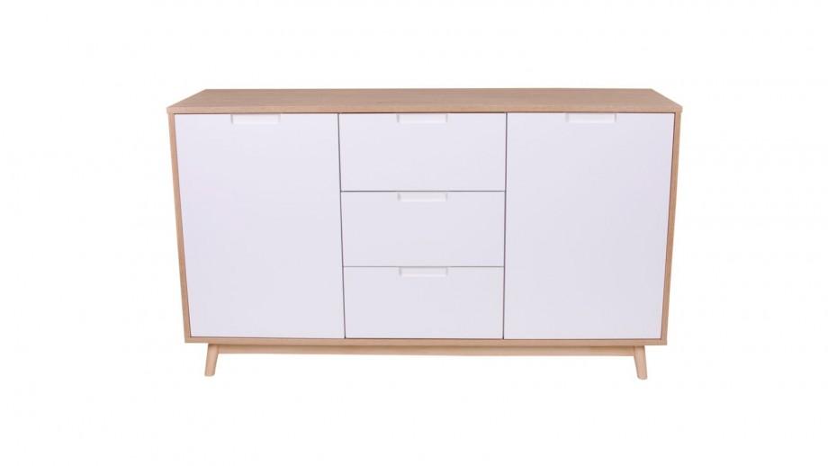 Meuble de rangement bas 2 portes 3 tiroirs blanc et naturel - Collection Copenhagen - House Nordic