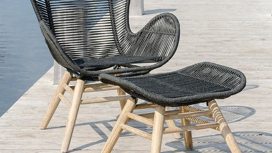 Fauteuil en acacia noir avec repose pieds - Collection Helsinki - House Nordic