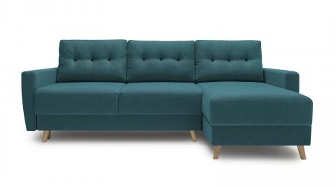 Canapé d'angle convertible scandinave en tissu bleu canard Kalix - Avec couchage 140X200 cm, coffre de rangement, tissu premium.