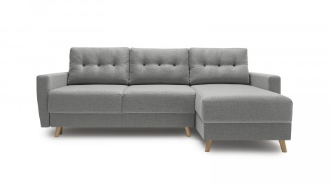 Canapé d'angle convertible scandinave en tissu gris clair Kalix - Avec couchage 140X200 cm, coffre de rangement, tissu premium.