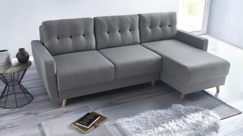 Canapé d'angle convertible en tissu gris clair - Collection Kalix