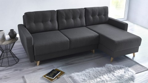 Canapé d'angle convertible en tissu gris anthracite - Collection Kalix