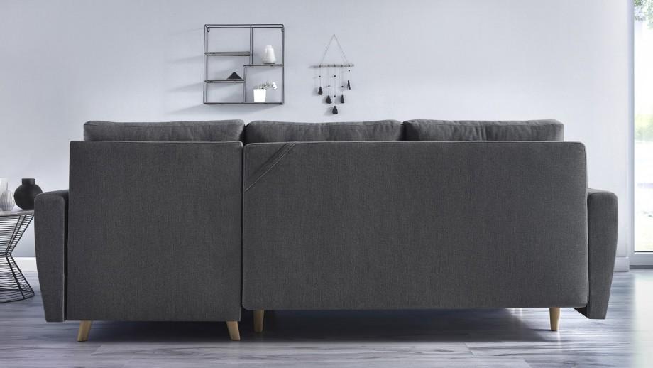 Canapé d'angle convertible en tissu gris anthracite - Collection Kalix