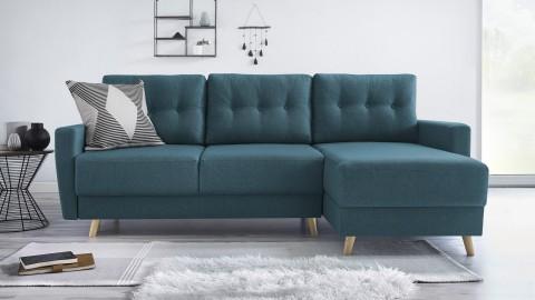 Canapé d'angle convertible en tissu bleu canard - Collection Kalix