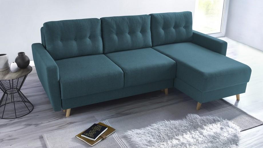 Canapé d\'angle convertible scandinave en tissu bleu canard Kalix - Avec  couchage 140X200 cm, coffre de rangement, tissu premium.