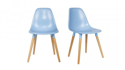 Lot de 2 chaises bleu prétrole en polypropylène, piètement conique - Collection Roef - Woood