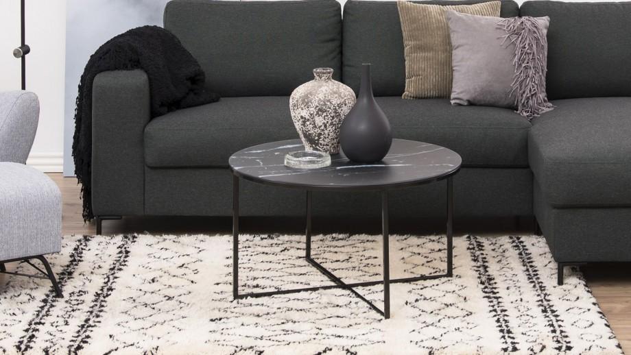 Table basse ronde en marbre et métal noir – Collection Alisma