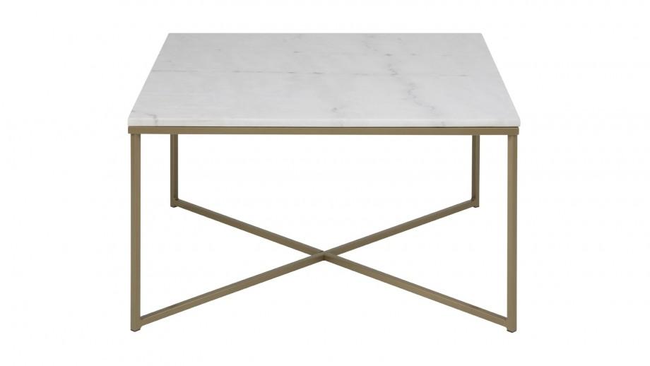 Table basse carrée en marbre et métal doré – Collection Alisma