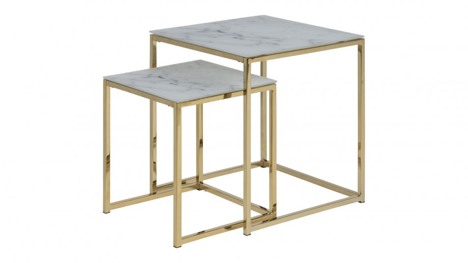 Lot de 2 tables gigognes carrées - Collection Alisma