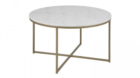 Table basse ronde plateau en marbre blanc - Collection Alisma