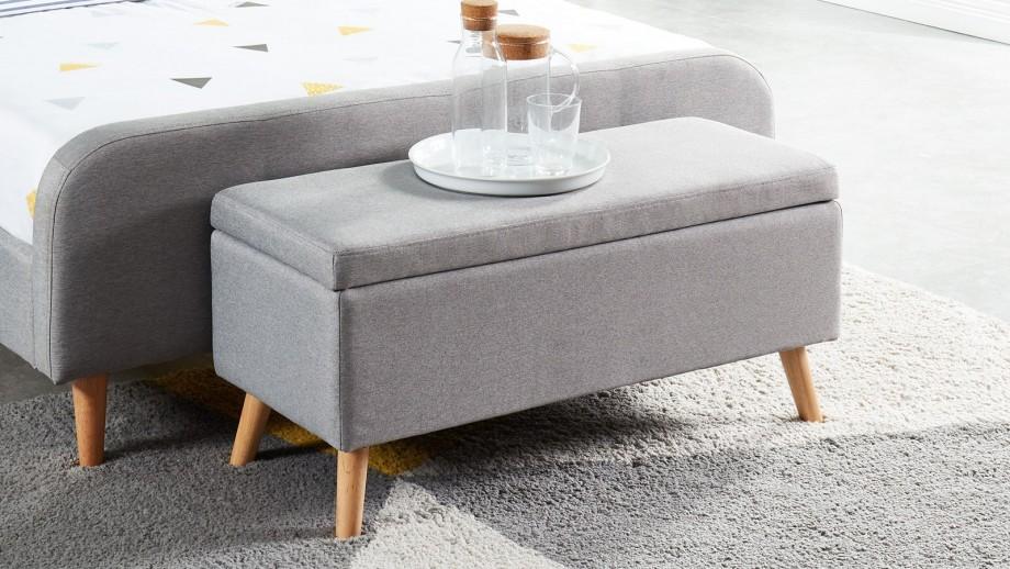 Banc coffre gris clair 100cm - Collection Dan