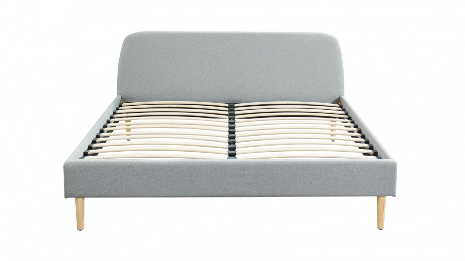 Ensemble matelas mémoire 160x200 Memo Luxe + Lit gris clair avec sommier Gaby - Mousse HD + Mémoire de forme - Hbedding