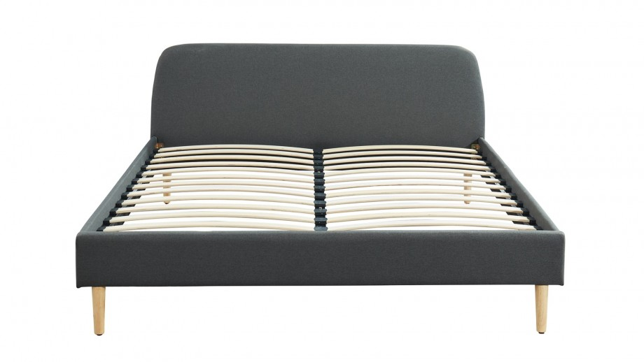 Ensemble matelas mémoire 180x200 Memo Luxe + Lit gris foncé avec sommier Gaby - Mousse HD + Mémoire de forme - Hbedding