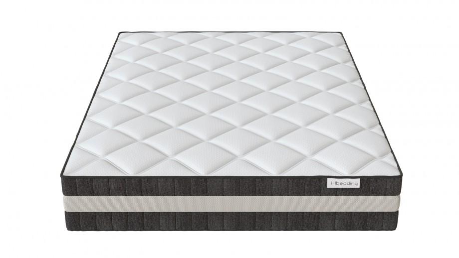 Ensemble matelas ressorts 160x200 Spring Luxe + Lit gris foncé avec sommier Gaby - Mousse HD + Ressorts ensachés - Hbedding