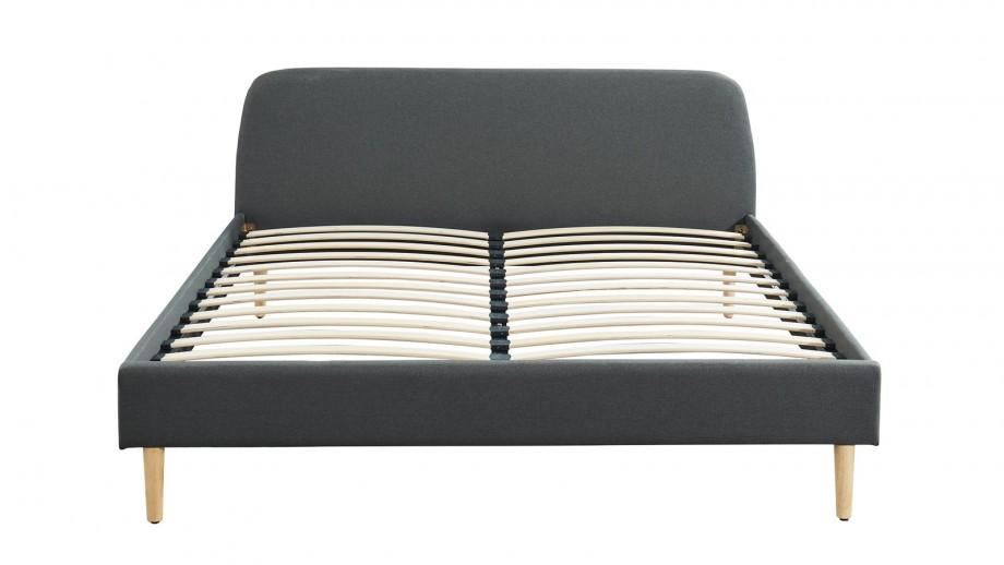 Ensemble matelas mémoire 140X190 Visco Fresh + Lit gris foncé avec sommier Gaby - Mousse HD + Mémoire de forme - Hbedding