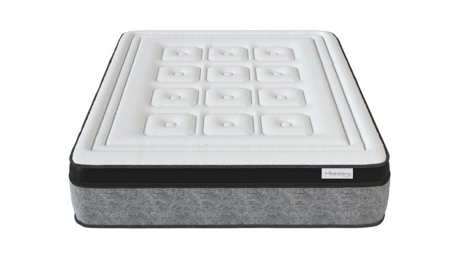 Ensemble matelas mémoire 140X190 Suite Royale + Lit gris clair avec sommier Gaby - Mousse HD + Mémoire de forme - Hbedding