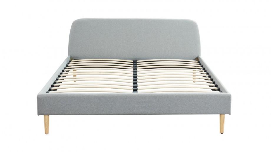 Ensemble matelas mémoire 160x200 Visco Pure + Lit gris clair avec sommier Gaby - Mousse HD + Mémoire de forme - Hbedding