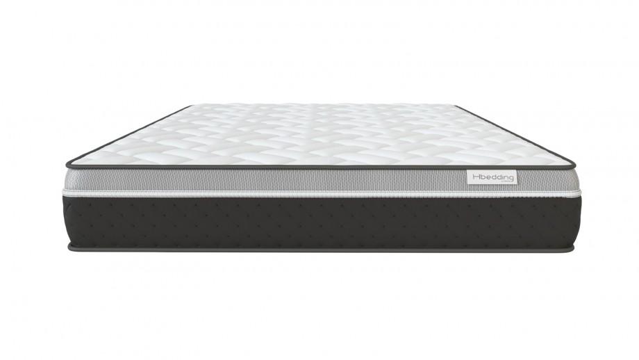 Ensemble matelas mémoire 160x200 Ergo Gelfresh + Lit gris clair avec sommier Gaby - Visco Gel + Mémoire de forme - Hbedding