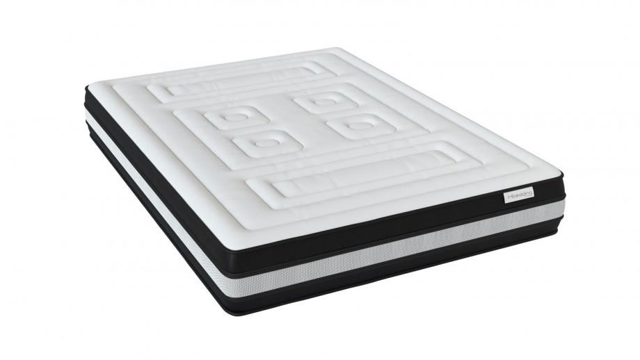 Ensemble matelas mémoire 160x200 Grand Hotel + Lit gris clair avec sommier Gaby - Mousse HD + Mémoire de forme - Hbedding