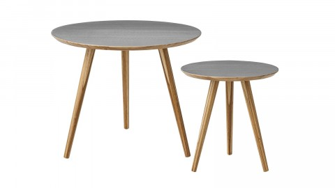 Lot de 2 tables basses grises - Collection Cortado