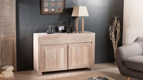 Meuble de rangement 2 portes 3 tiroirs en teck blancho - Collection Ines