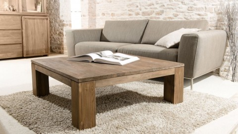 Table basse 100x100cm en teck recyclé - Collection Sixtine