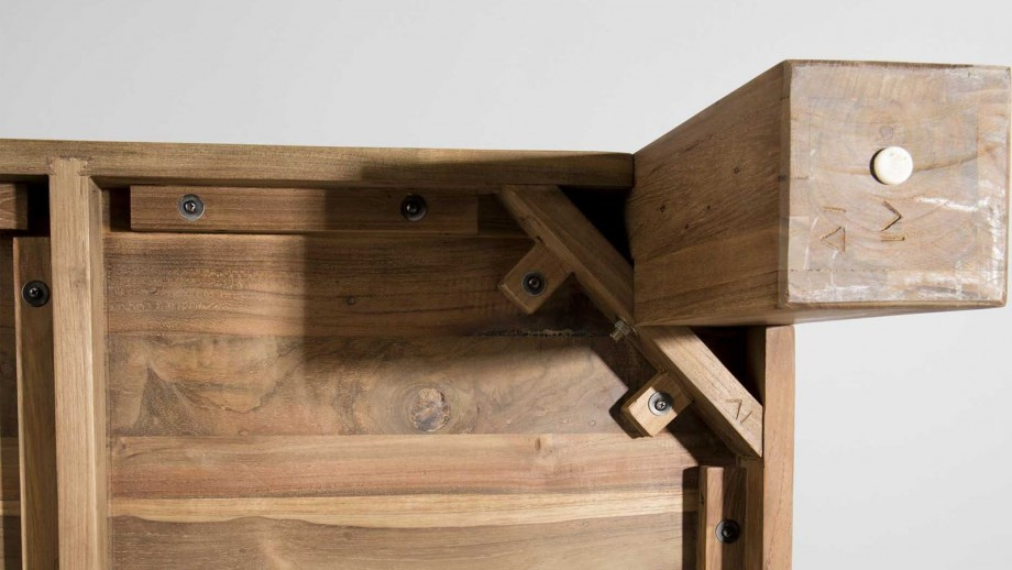Table basse 100x100cm en teck recyclé - Collection Sixtine