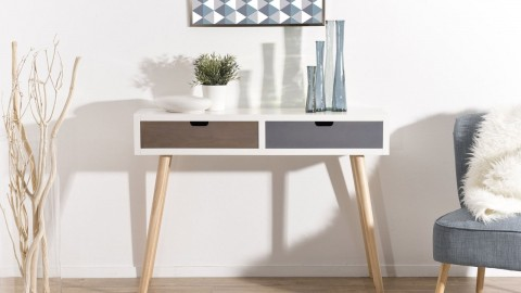 Console bicolore 2 tiroirs - Collection Enzo