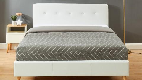 Lit adulte avec tête de lit capitonnée en simili cuir blanc, sommier à lattes, 140x190 - Collection Andreas