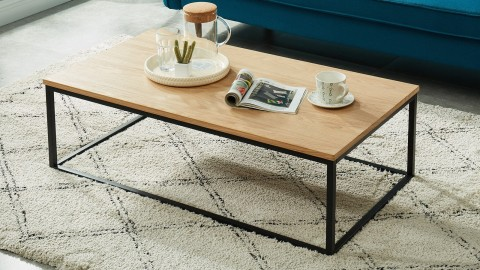 Table basse industrielle 110x60x34 cm noir et chêne - Collection Brixton