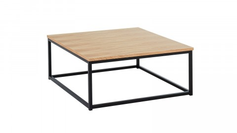Table basse industrielle 80x80x34 cm noir et chêne - Collection Brixton