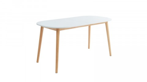 Table à manger scandinave extensible 160 à 200x80x75 cm blanc et bois - Collection Erika