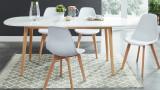 Table à manger scandinave extensible 160 à 200x80x75 cm blanc et bois - Collection Erika.