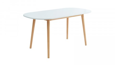 Table à manger scandinave blanc et bois 160x80x75 cm - Collection Erika