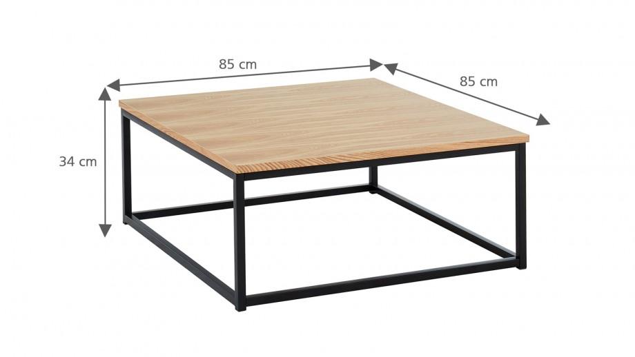 Table basse industrielle 80x80x34 cm noir et chêne - Collection Brixton