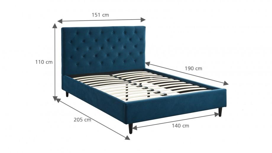 Lit adulte avec tête de lit capitonnée en velours bleu paon, sommier à lattes, 140x190 - Collection Hubert