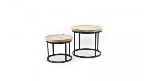 Lot de 2 tables gigognes en manguier piètement métal noir - Collection Betty