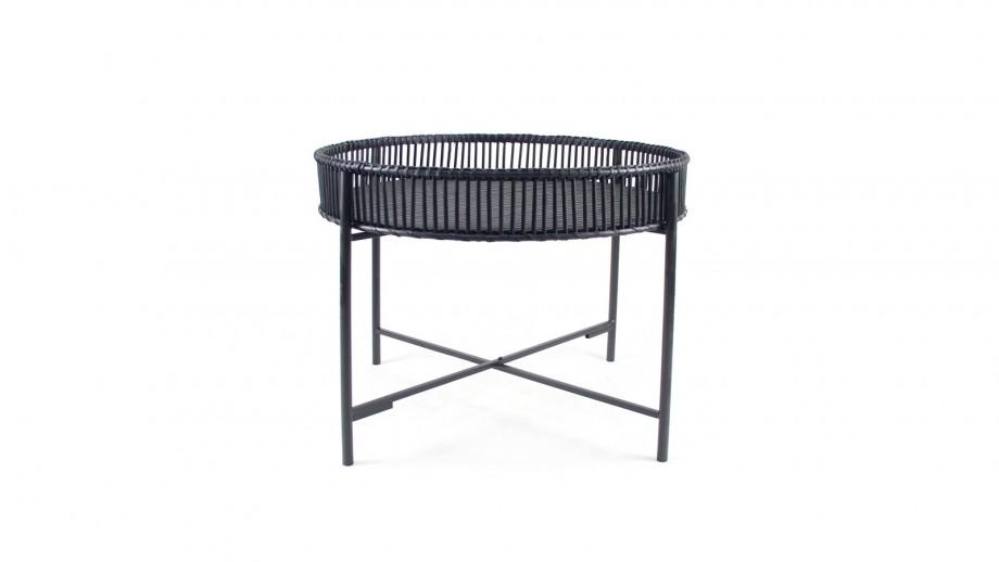 Table basse ⌀60cm en bambou noir - Collection Dragon
