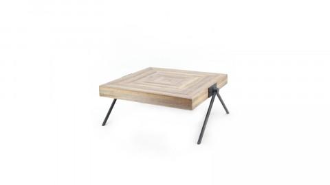 Table basse carrée en manguier piètement en métal noir - Taille S - Collection Jim